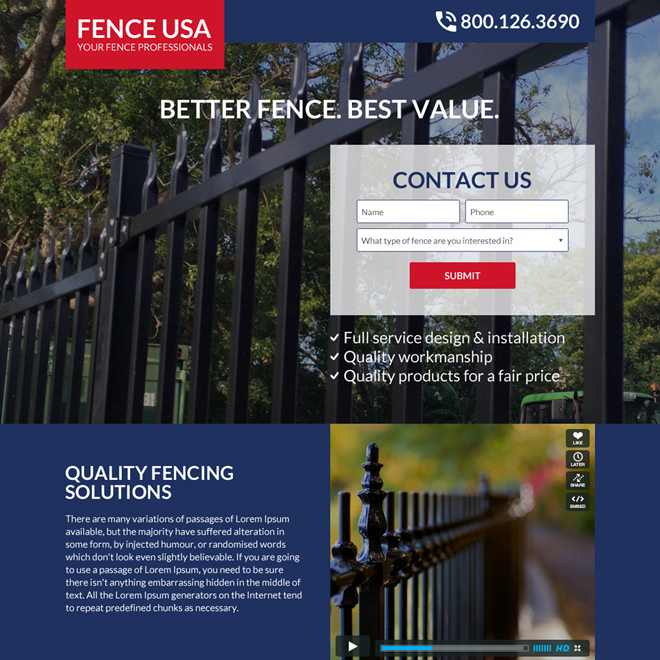 quality fencing solutions bootstrap landing page design Fencing example