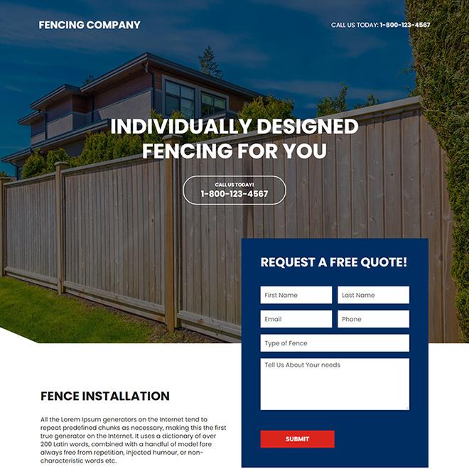 fencing company responsive landing page design Fencing example