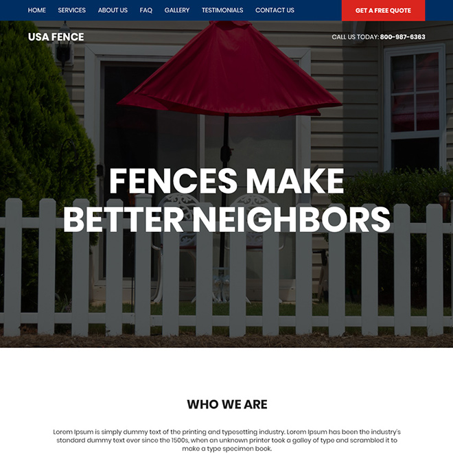 best fencing services bootstrap website design Fencing example