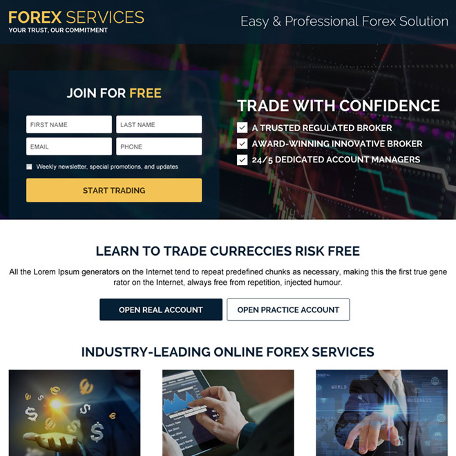 best forex services sign up capturing landing page design Forex Trading example