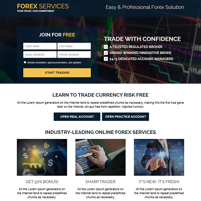 responsive forex trading sign up capturing mini landing page Forex Trading example