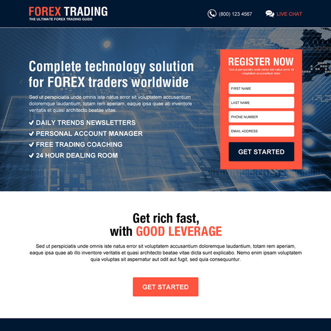 best forex trading guide high converting lead capture landing page design Forex Trading example