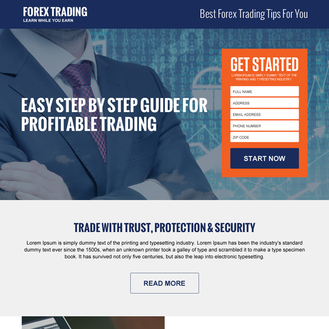 best forex trading tips guide landing page design Forex Trading example