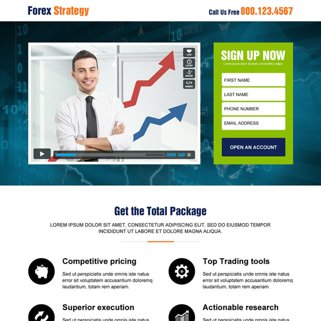 best forex video sign up lead capture responsive landing page design Forex Trading example