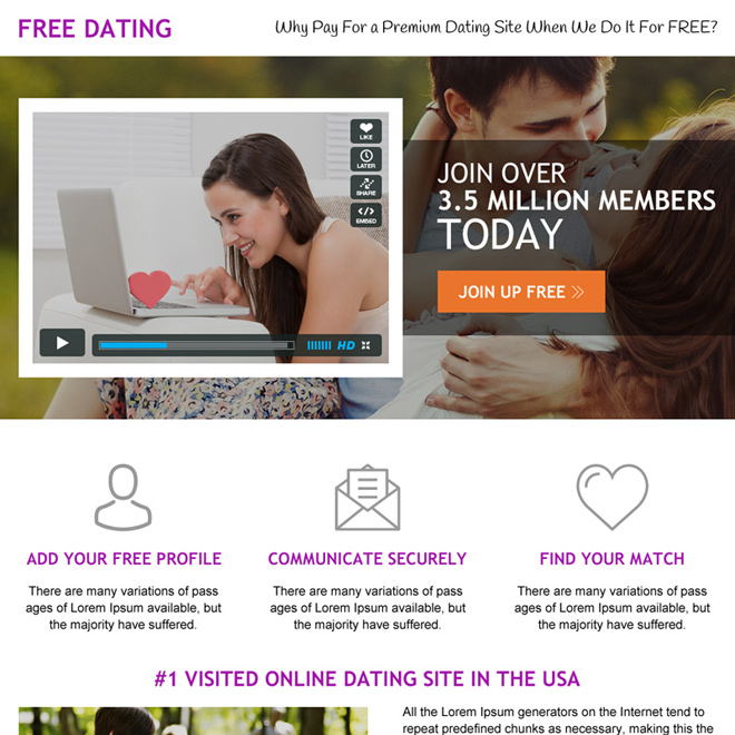 premium dating mini landing page design with video Dating example
