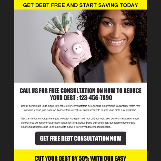 get debt free and start saving today effective ppv landing page design template Debt example