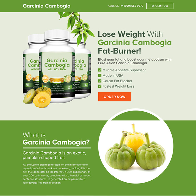 pure asian garcinia cambogia product selling landing page Weight Loss example