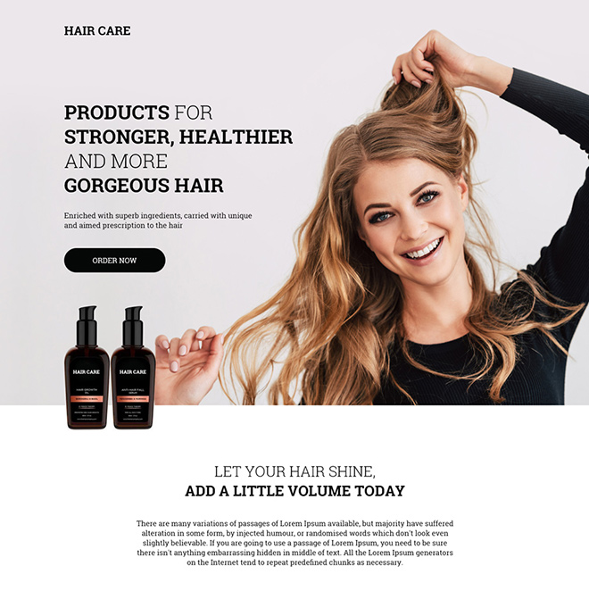 hair care products selling responsive landing page design Hair Care example