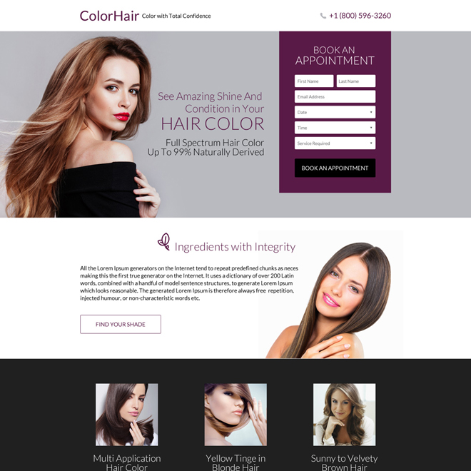 responsive hair coloring service landing page design Hair Care example