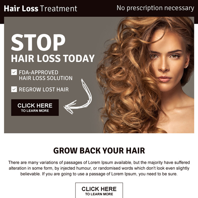 best hair loss ppv landing page design Hair Loss example