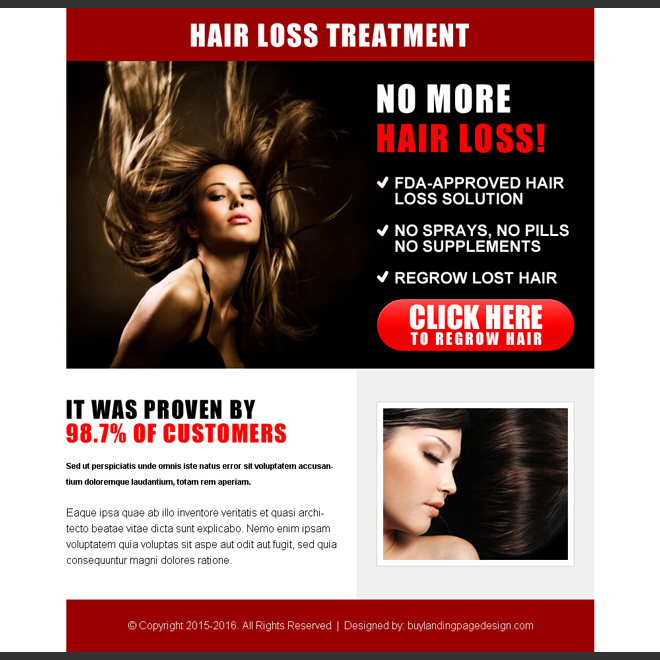 best hair loss treatment cta ppv landing page design Hair Loss example