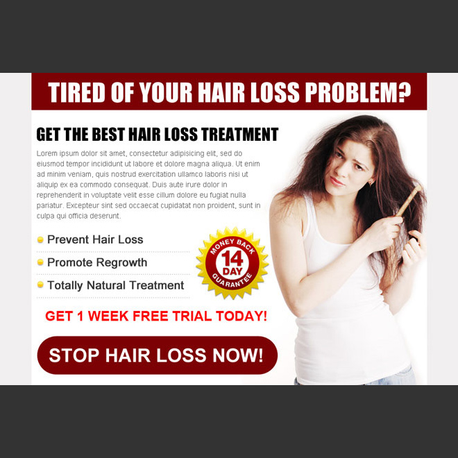 clean and effective hair loss treatment ppv landing page template Hair Loss example