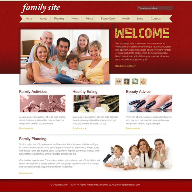 attractive and informative best happy family website template design psd for creating your beautiful website Website Template PSD example