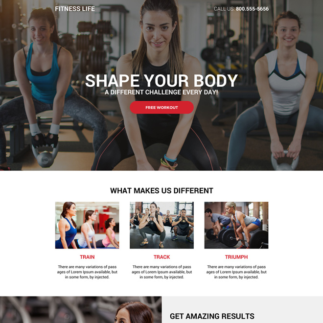 minimal health and fitness free workout lead generating landing page Health and Fitness example