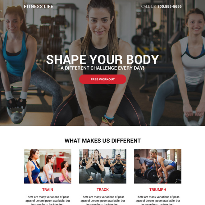 best health and fitness life responsive landing page design Health and Fitness example