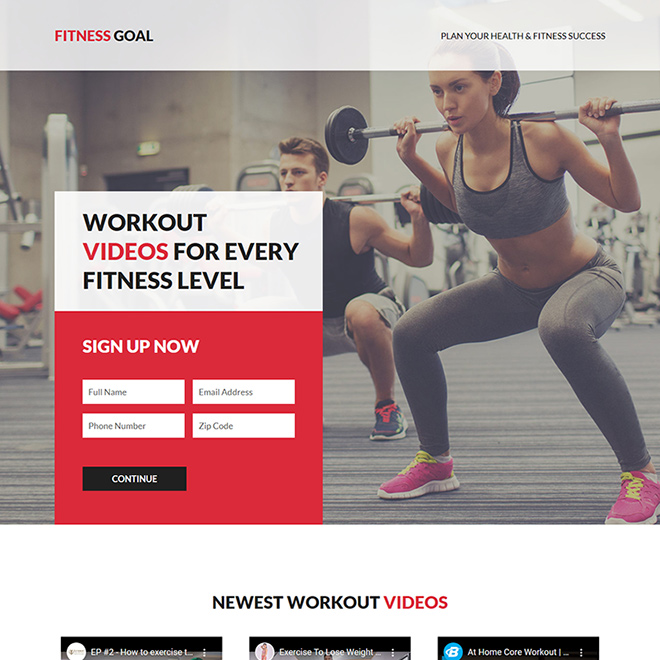health and fitness success responsive  landing page design Health and Fitness example