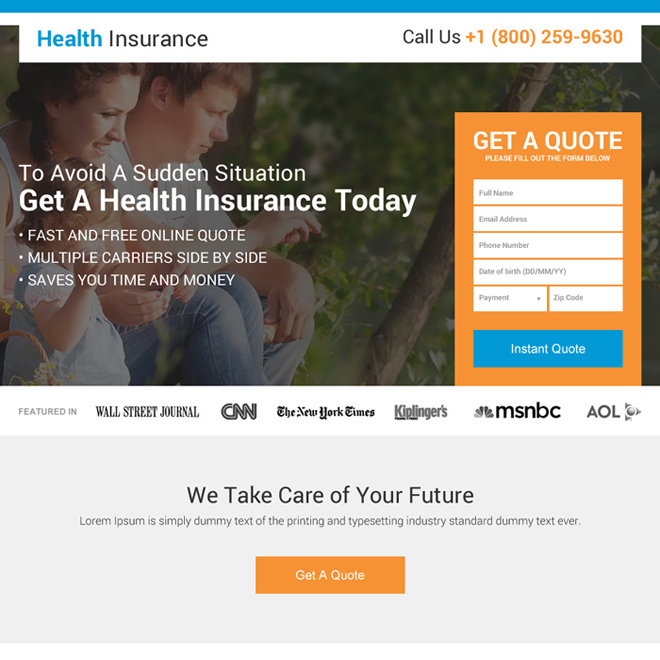 health insurance instant coverage landing page design Health Insurance example