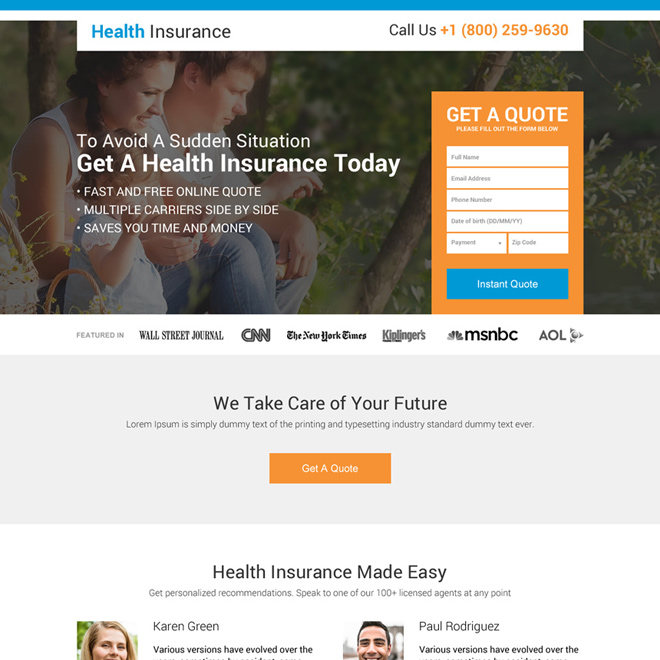 responsive health insurance company best landing page design Health Insurance example