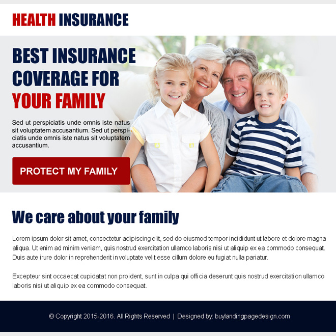 best health insurance coverage ppv landing page design Health Insurance example