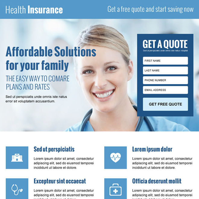 lead capture converting landing page design for health insurance business Health Insurance example