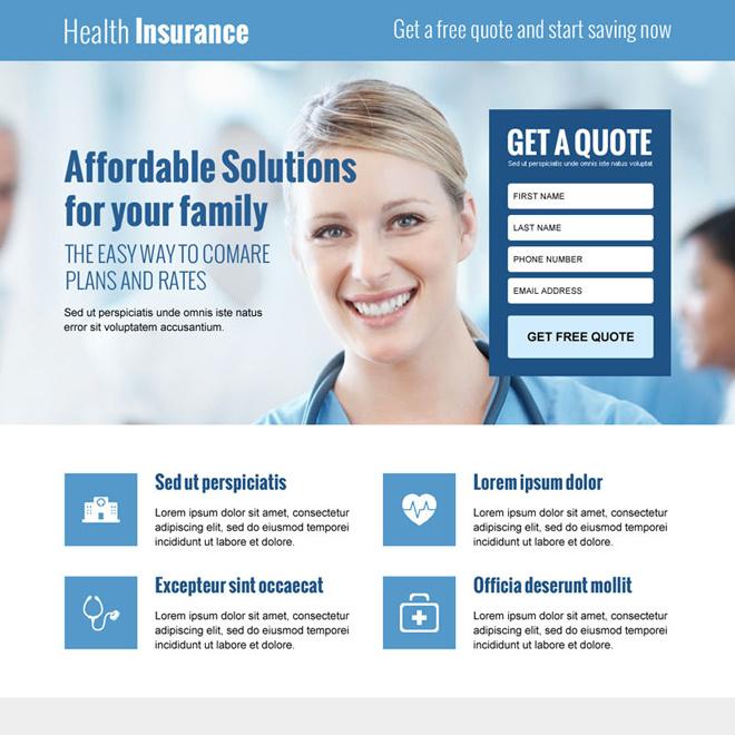 best health insurance lead gen responsive landing page design Health Insurance example
