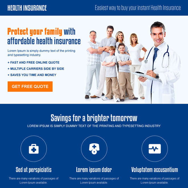 best family insurance call to action landing page design template Health Insurance example