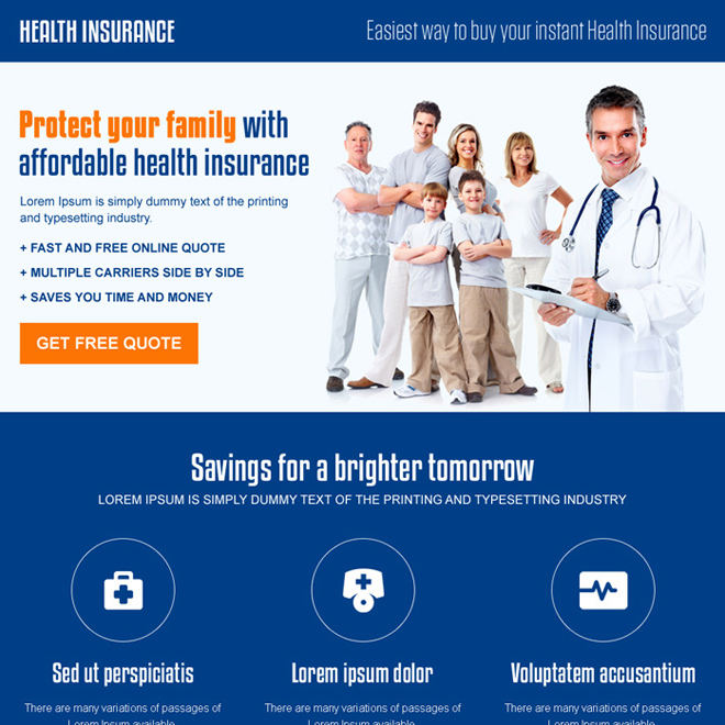 best health insurance for family responsive landing page design Health Insurance example