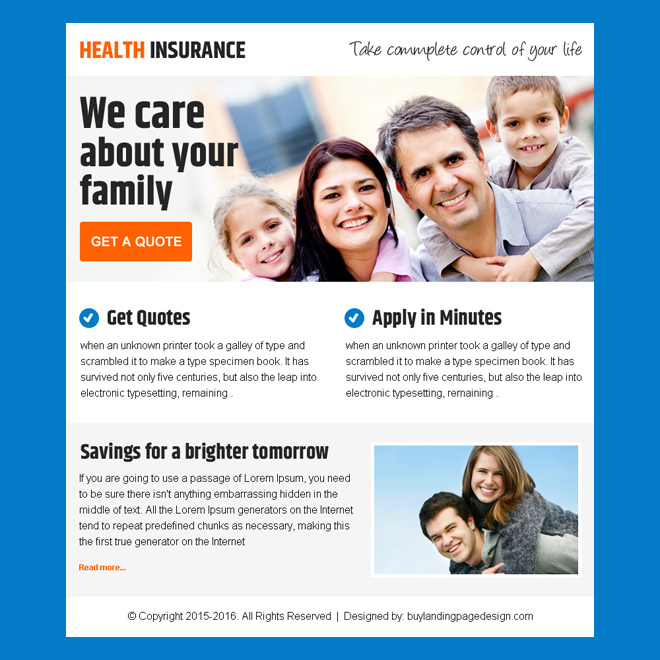 best health insurance ppv landing page design for sale Health Insurance example