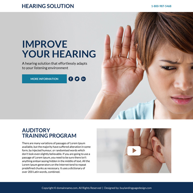best hearing solutions lead funnel responsive landing page design Hearing Solutions example