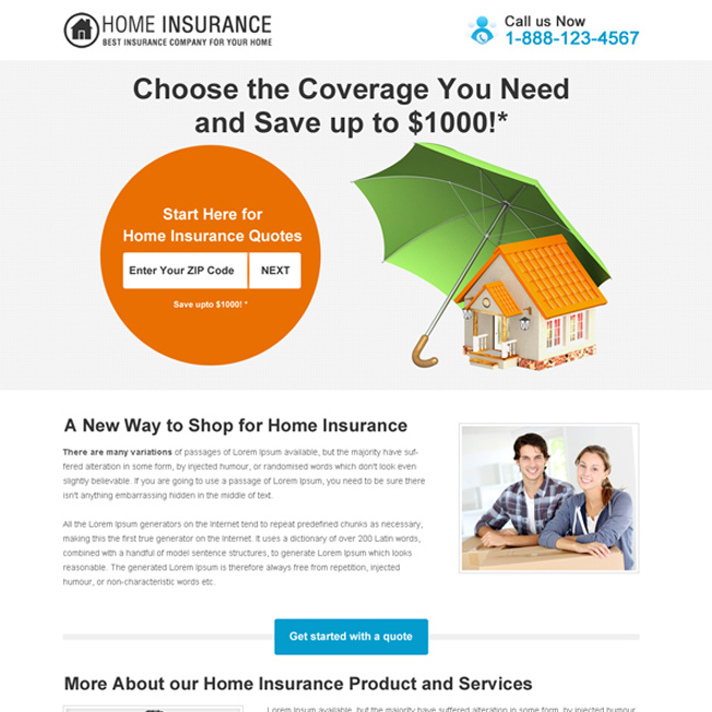 choose the home insurance coverage you need clean and minimal landing page design Home Insurance example