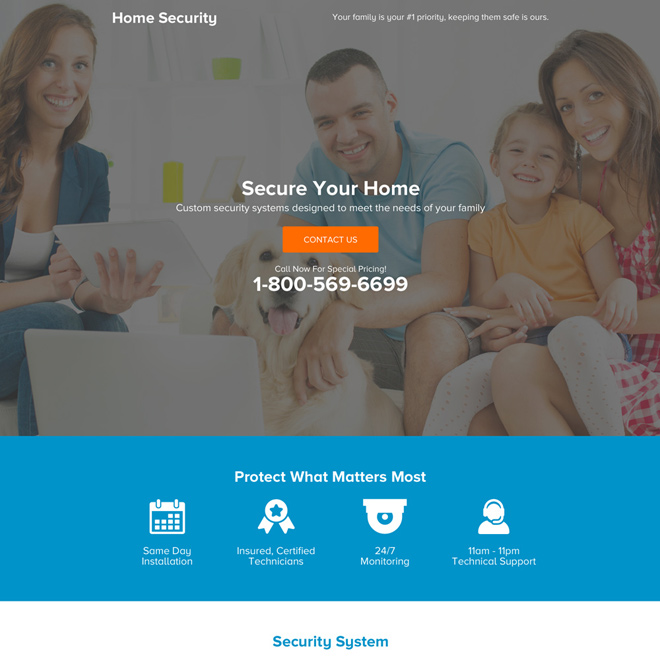 best home alarm security system premium landing page design Security example