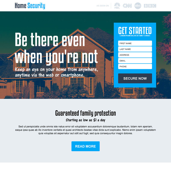 best home security lead capturing landing page design template Security example