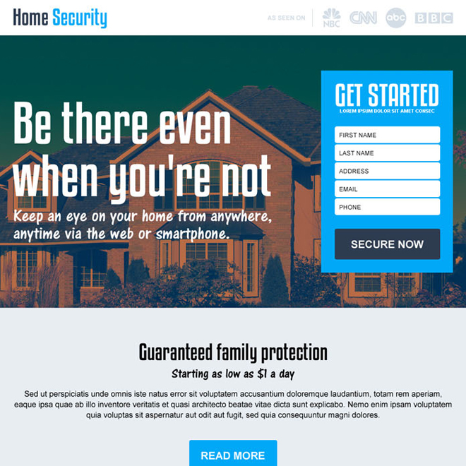 best home security services responsive landing page design Security example