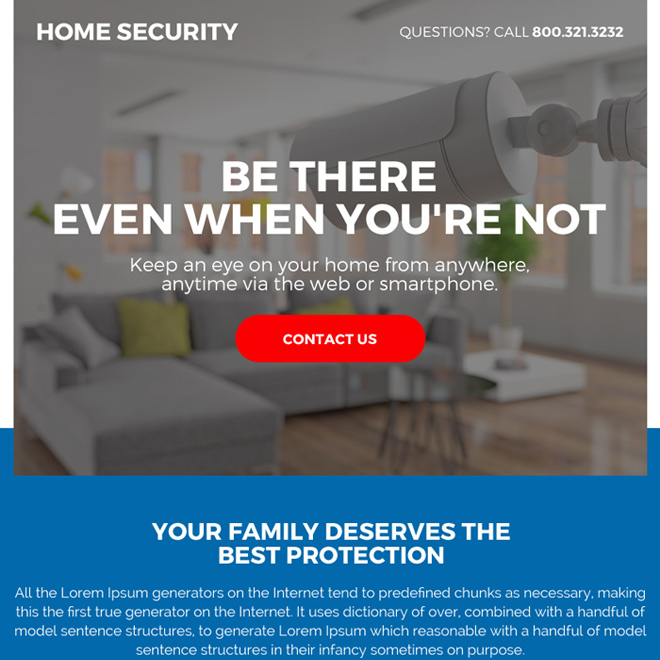 best home security call to action ppv landing page Security example