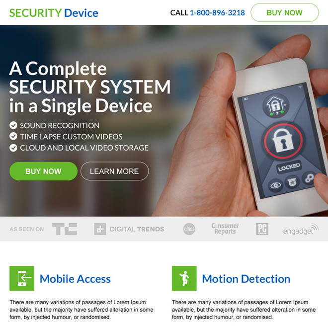 security system device selling landing page design Security example