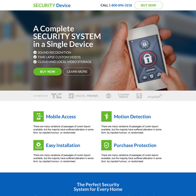 responsive security device selling landing page design Security example