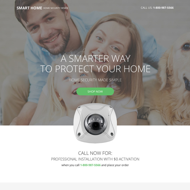 home security device selling responsive landing page Security example