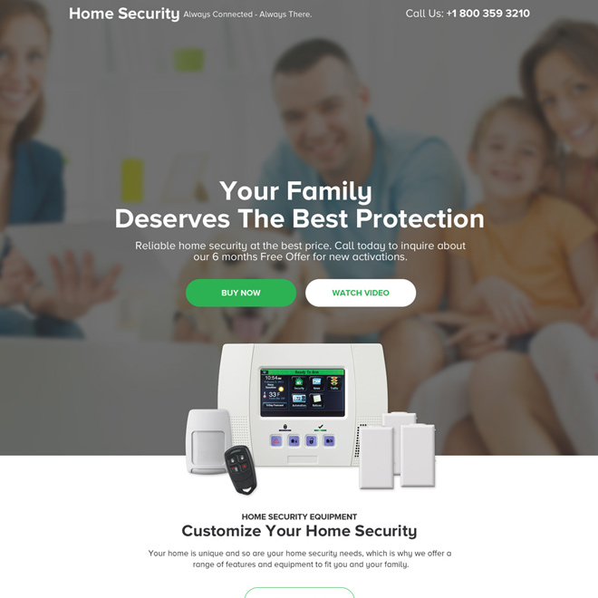 best home security device selling responsive landing page design Security example