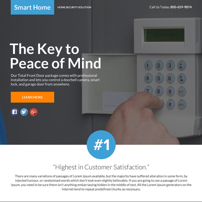 best home security lead funnel landing page design Security example
