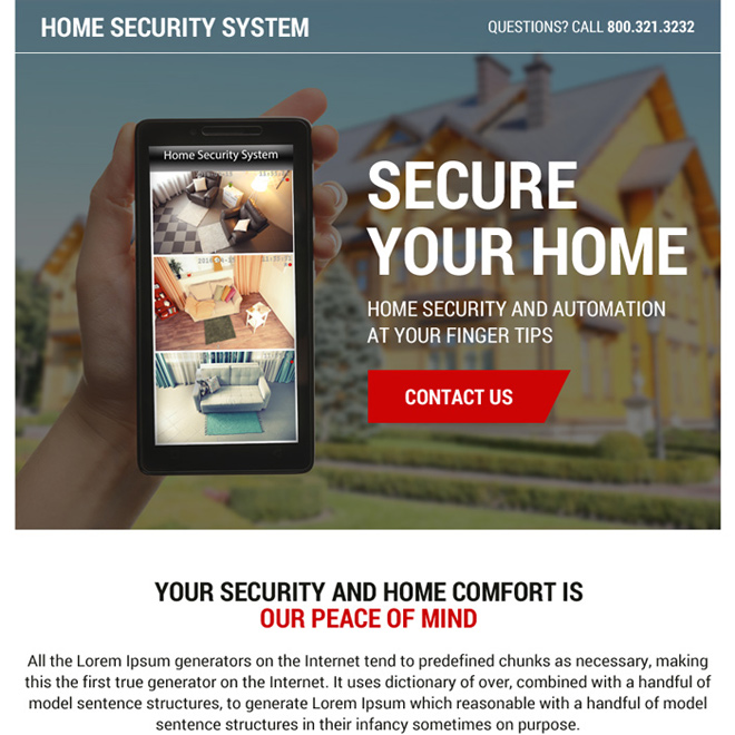 best home security system ppv landing page design Security example