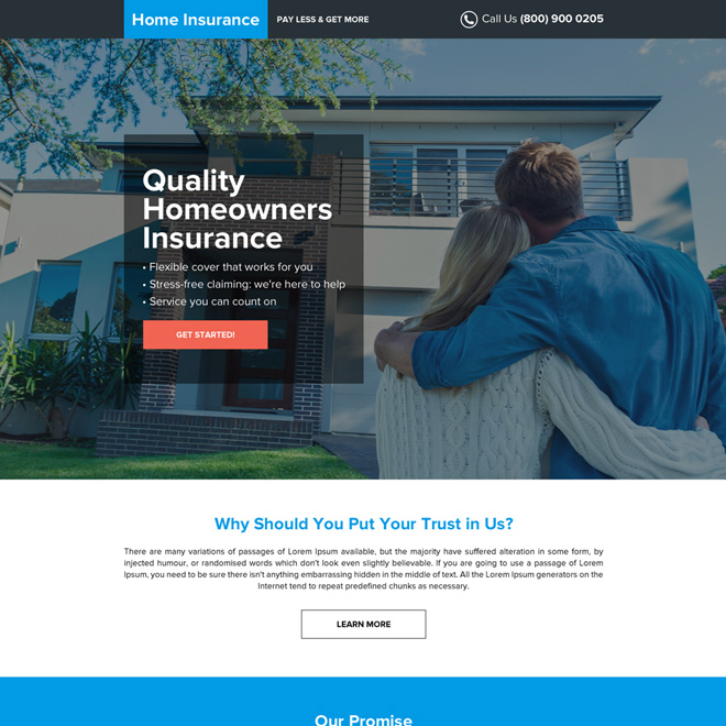 quality home owners insurance professional landing page design Home Insurance example