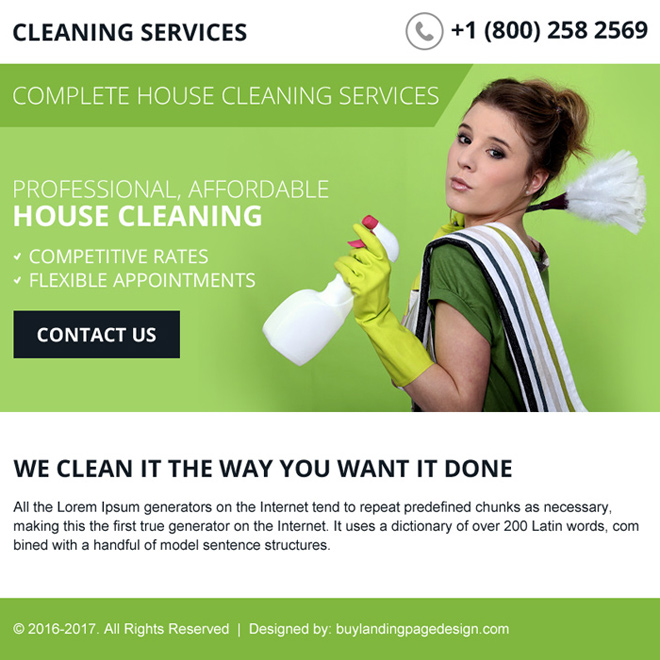 best house cleaning services ppv landing page design Cleaning Service example