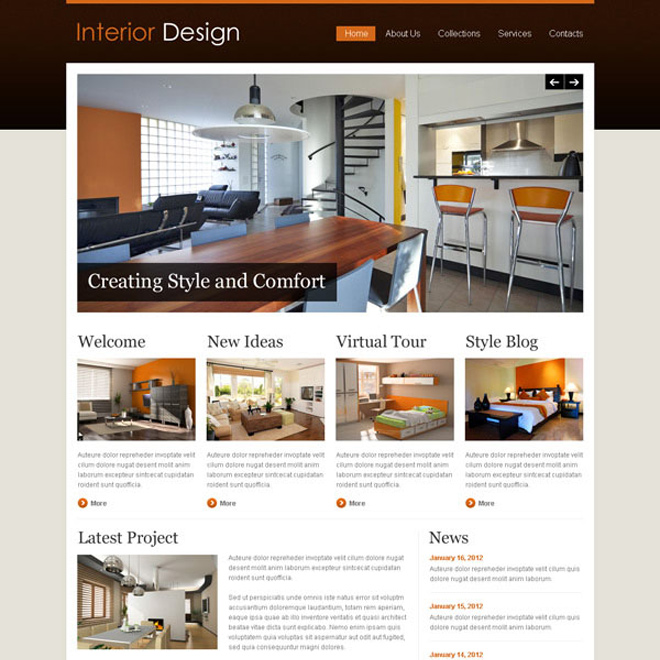 ... Interior Design Attractive And Appealing Website Template Design Psd Website  Template PSD Example