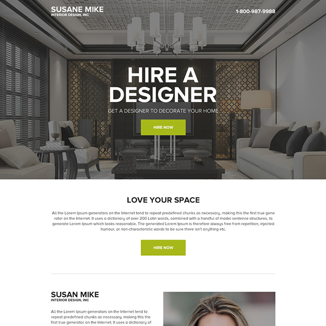 hire best interior designer for your house minimal landing page Home Improvement example