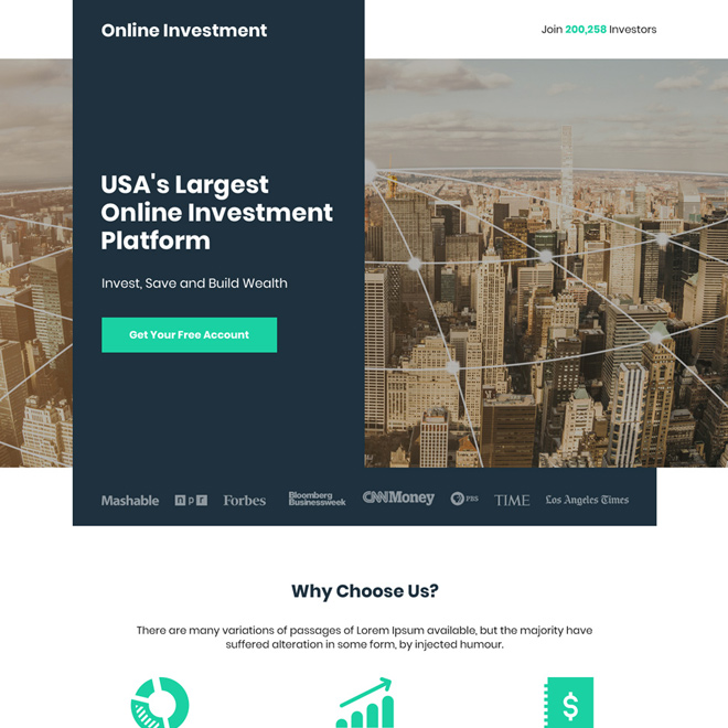 largest online investment platform free account sign up landing page Marketing example