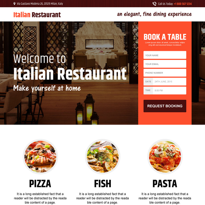 italian restaurant responsive lead capture landing page Hotel And Restaurant example