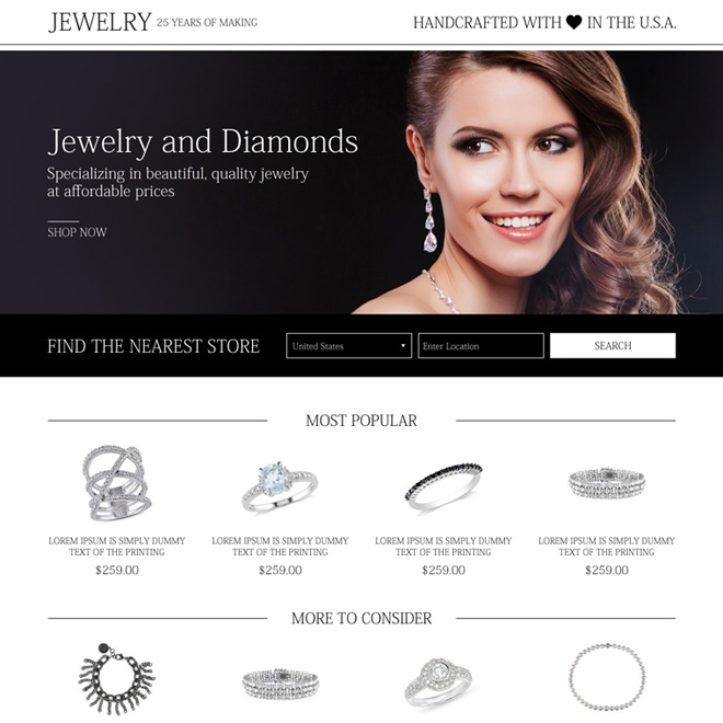 best jewelry and diamond store mini landing page Jewelry example