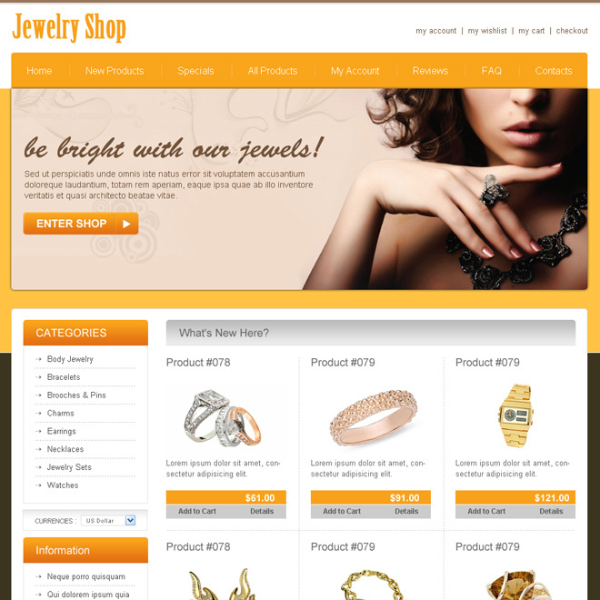 best jewelry shop online store website template design psd Website Template PSD example