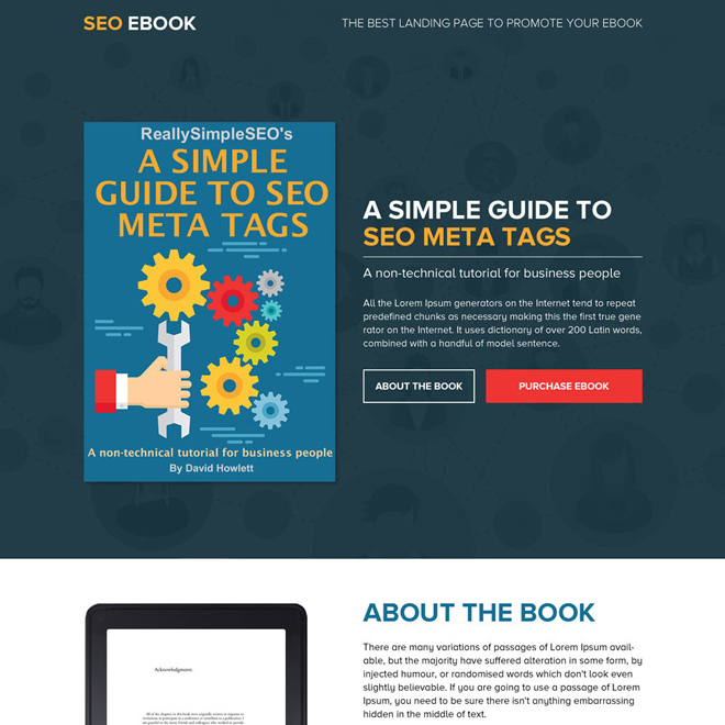 best landing page design to sell your ebook online Ebook example