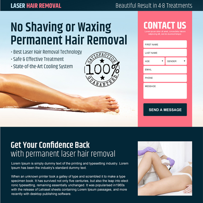 best laser hair removal service responsive landing page design Hair Removal example